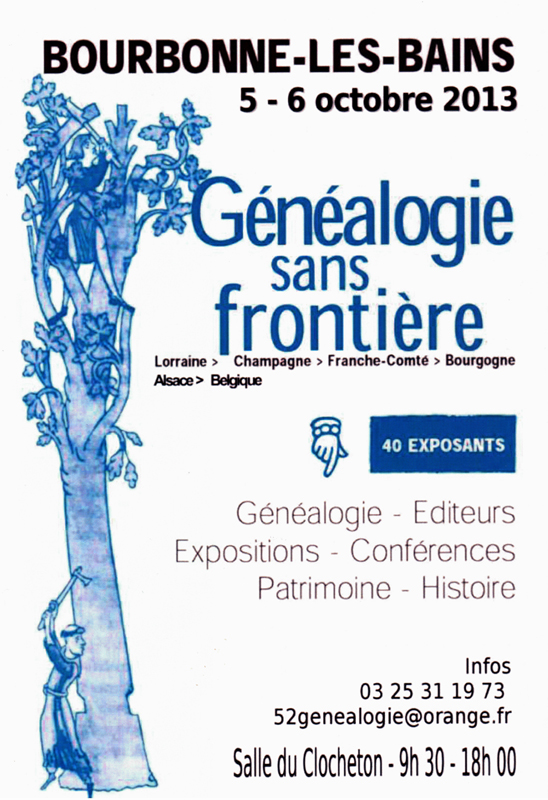 Généalogie Sans Frontière - Bourbonne 2013